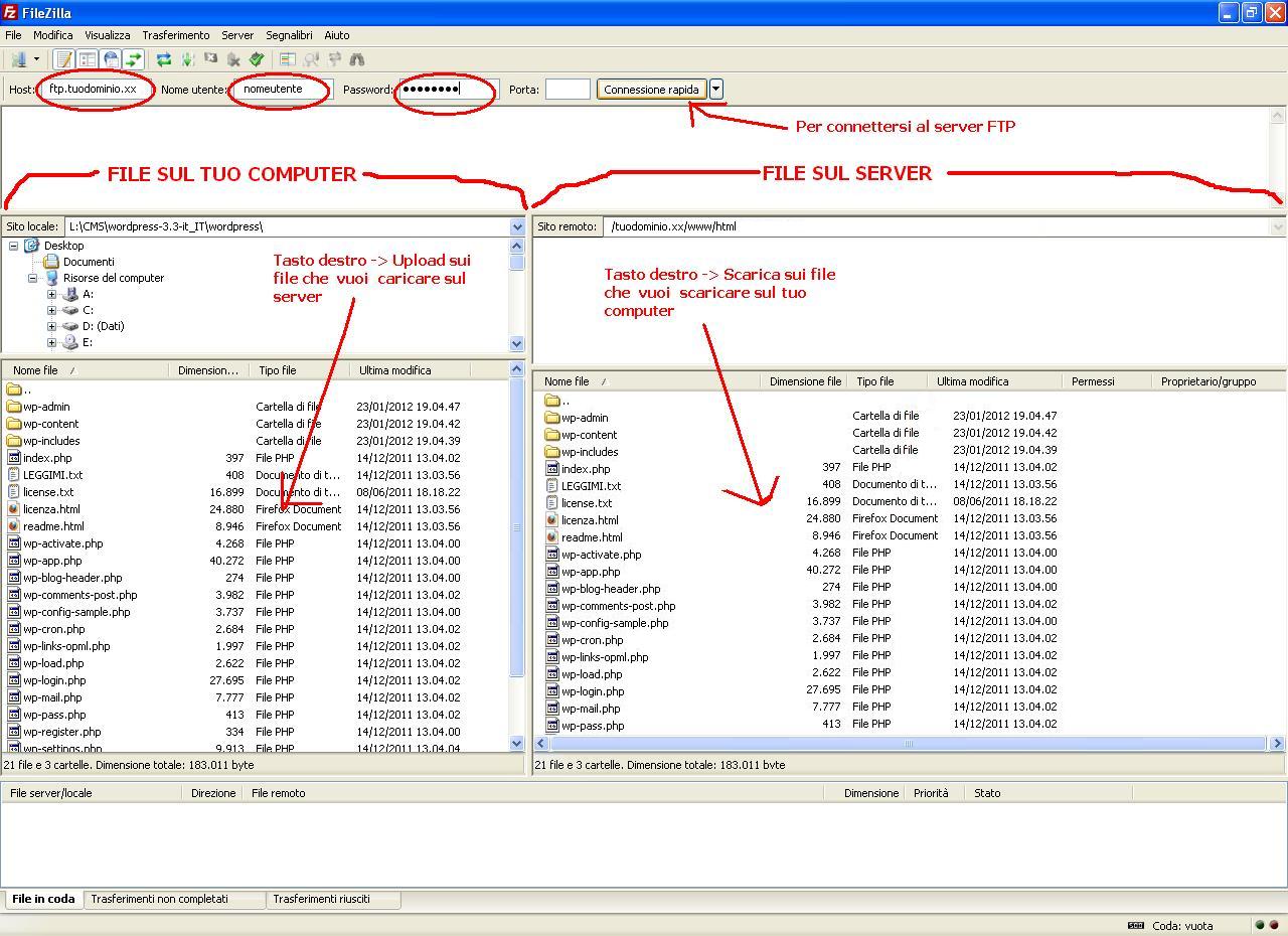 Trasferimento file tramite FTP con FileZilla
